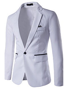 cheap Men's Blazers & Suits-Men's Daily / Work Business / Simple / Casual Spring / Summer / Fall Regular Blazer, Color Block Shirt Collar Long Sleeve Rayon Gray / Light Blue / Royal Blue XL / XXL / XXXL / Business Casual / Slim