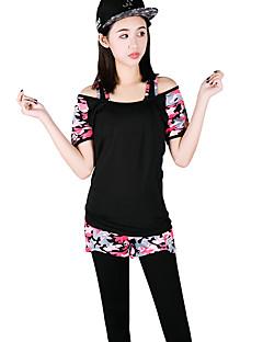 女性用 ランニングTシャツ(パンツ付き) 半袖 速乾性 高通気性 洋服セット のために ヨガ エクササイズ&フィットネス ランニング モーダル ポリエステル スリム フクシャ アーミーグリーン S M L XL