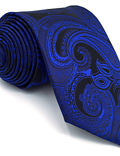 billige Redaksjonens valg-Herre Vintage Søtt Fest Kontor Fritid Slips,Alle årstider Paisly Rayon Blå