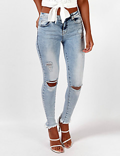 Women's Cut Out Skinny Jeans PantsGoing out Holiday Simple Street chic Slim All Match Fashion Solid Ripped High Rise Zipper Micro-elastic Spring Fall
