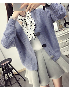 Women's Going out /Cute Regular Cardigan,Solid Pink / Gray / Green / Purple V Neck Long Sleeve Cotton Spring / Fall