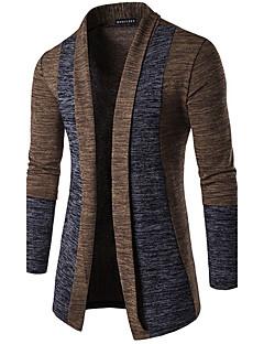 Herren Standard Strickjacke-Lässig/Alltäglich Einfach Solide Braun Grau V-Ausschnitt Langarm Baumwolle Frühling Mittel Mikro-elastisch