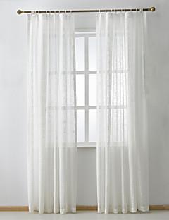 baratos Cortinas Transparentes-Anéis Duplo Plissado Dois Painéis Tratamento janela Modern Neoclassicismo Regional, Jacquard Sólido Quarto Mistura de Linho e Poliéster