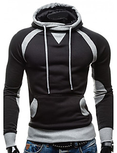 Men's Casual/Daily Simple Hoodie Solid Round Neck Micro-elastic Cotton Long Sleeve Fall Spring