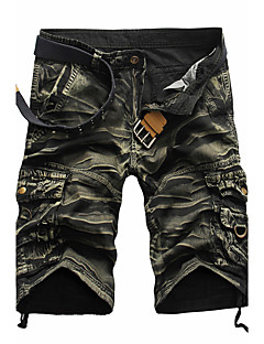 cheap Men's Clothing-Men's Active Punk & Gothic Cotton Straight Shorts Pants - Camouflage Pleated