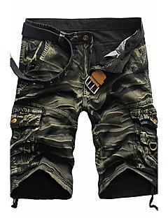 billige Herrebukser og -shorts-Herre Aktiv Punk & Gotisk Bomull Rett Shorts Bukser - Flettet, Kamuflasje
