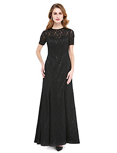 cheap Mother of the Bride Dresses-A-Line Jewel Neck Floor Length All Over Lace Mother of the Bride Dress with Beading by LAN TING BRIDE®