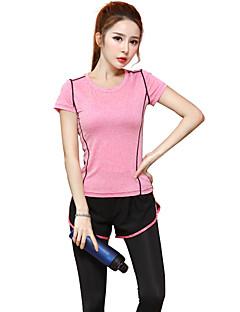 billige Løbetøj-Dame Rund hals Løbe-T-shirt - Lilla, Rosa Sport Modal T-Shirt / Toppe Yoga, Træning & Fitness, Løb Kortærmet Sportstøj Åndbart, Hurtigtørrende Høj Elasticitet