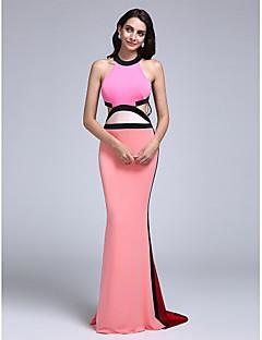 tanie Sukienki kolorowe i wzorzyste-Ołówkowa / Kolumnowa Zaokrąglony Tren sweep Dżersej Piękne plecy Kolacja oficjalna Sukienka z Plisy przez TS Couture®