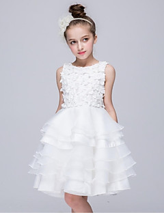 cheap Communion Dresses-Ball Gown Knee Length Flower Girl Dress - Organza Sleeveless Jewel Neck with Applique by YDN