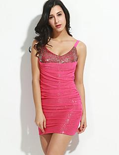 女性のファッションセクシーなVの襟のスパンコールヒップパッケージボディコンドレス