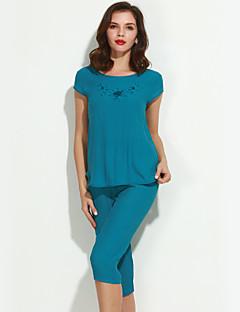billige Lagersalg-Dame Pyjamas, Ensfarget Bomull Lin Fuksia Grønn Blå Rosa Vin