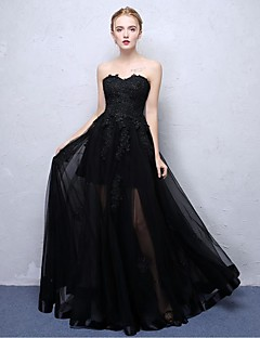 Ball Gown Strapless Floor Length Lace Organza Satin Chiffon Formal Evening  Dress With Lace By Embroidered