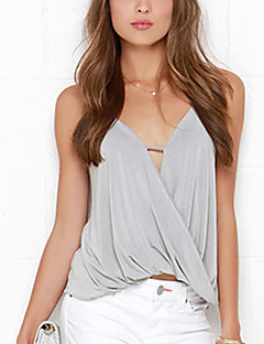 cheap Women's Tops-Women's Polyester Loose Tank Top - Solid, Backless Strap