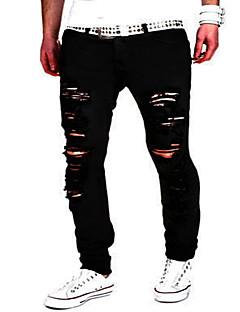 billige Herrebukser og -shorts-Herre Tynn Tynn Chinos Jeans Bukser Ensfarget