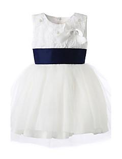 女の子の フラワー コットン,ドレス オールシーズン ホワイト