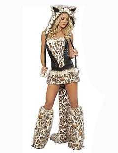 billige Halloweenkostymer-Ulv Cosplay Kostumer Dame Karneval Festival / høytid Halloween-kostymer Leopard Ensfarget