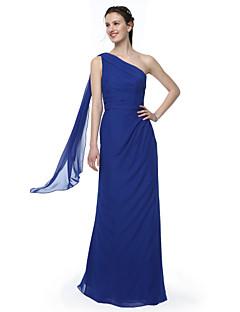 tanie Królewski błękit-Ołówkowa / Kolumnowa Na jedno ramię Sięgająca podłoża Szyfon Sukienka dla druhny z Plisy przez LAN TING BRIDE®