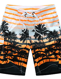 billige Herrebukser og -shorts-Herre Aktiv / Bohem Store størrelser Bomull Løstsittende / Shorts Bukser - Stripet Lapper Oransje / Sommer / Strand