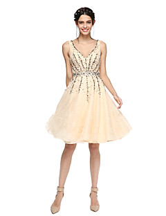 A-Line V-neck Knee Length Lace Organza Cocktail Party Homecoming Dress with Beading by TS Couture®