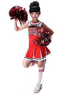 Cheerleader Costumes Kid's Spandex 2 Pieces Sleeveless Natural Skirts Tops