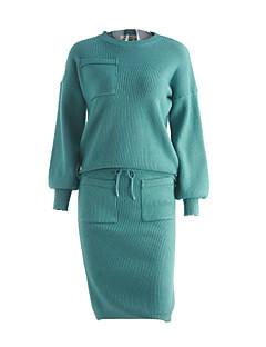 abordables -Set Jupe Costumes Femme,Couleur Pleine Sortie Sexy Automne Manches Longues Col Arrondi Noir / Vert Coton Moyen