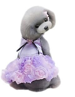 billiga Hundkläder-Hund Klänningar Hundkläder Blomma Grå Purpur Rosa Chiffong Kostym För husdjur Dam Gulligt Mode Bröllop