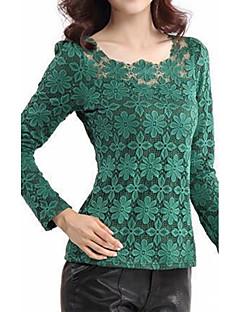 billige Plusstørrelser-Dame - Ensfarvet, Blonder Plusstørrelser Bluse Polyester