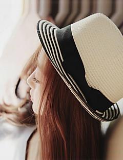 billige Trendy hatter-Dame Vintage Søtt Fritid Bøttehatt Stråhatt Solhatt,Sommer Ensfarget Strå Hvit
