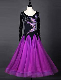 hesapli -Balo Dansı Elbiseler Kadın's Performans ChinIon Organze Kristaller / Yapay Elmaslar Uzun Kollu Elbise