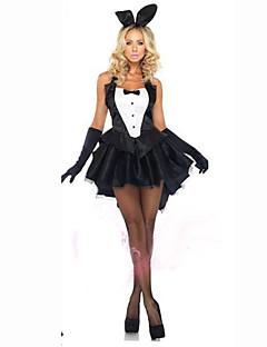 billige Halloweenkostymer-Bunny Jenter Cosplay Kostumer Dame Karneval Festival / høytid Bomull Drakter Svart Ensfarget
