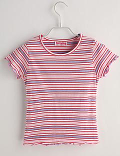 Baby Fritid/hverdag T-skjorte Stripet-Bomull-Sommer-Rosa