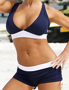 billige Bikinier og damemote 2017-Dame Sporty Grime Rosa Navyblå Lysegrønn Bandeau Boy Leg Bikini Badetøy - Fargeblokk BLå & Hvit Kryss M L XL