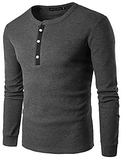 billige plusstørrelser-Rund hals Herre - Ensfarvet Sport T-shirt