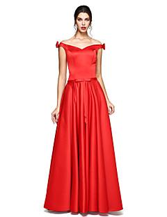 Aライン フロア丈 サテン フォーマルイブニング ドレス とともに リボン 〜によって TS Couture®