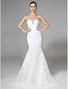 Mermaid Trumpet Spaghetti Straps Court Train Lace Wedding Dress With Beading By LAN TING BRIDER