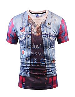 Polyester Tynn Kortermet,Rund hals T-skjorte Trykt mønster Vår Sommer Bohem Gatemote Punk & Gotisk Fritid/hverdag Fest/Cocktail Klubb