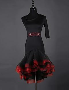 我々はラテンダンスドレス女性スパンデックスオーガンザ1着ドレス