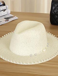 hesapli כובעי קש קלילים ומגניבים-Kadın's Günlük Hasır Şapka Güneş şapkası Solid