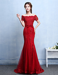 A-Line Bateau Neck Floor Length Tulle Formal Evening Dress with Sash / Ribbon