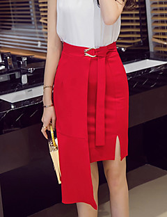 Bodycon Solid Knitting Skirts,Casual/Daily Simple Mid Rise Asymmetrical Drawstring Polyester Stretchy Spring Summer