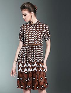Χαμηλού Κόστους MORE BRANDS-Γυναικεία Γραμμή Α Φόρεμα - Γεωμετρικό Κολάρο Πουκαμίσου
