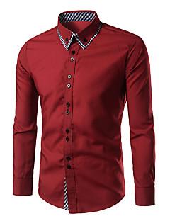 カジュアル/普段着 春 シャツ,シンプル シャツカラー チェック ブルー レッド ホワイト ブラック コットン 長袖
