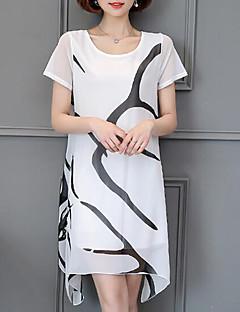 cheap Plus Size Dresses-Plus Size Casual Chiffon Dress - Solid Colored, Print