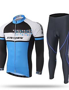 billige Sykkelklær-XINTOWN Herre Langermet Sykkeljersey med tights - Svart Sykkel Jersey Bukser Klessett, 3D Pute, Fort Tørring, Ultraviolet