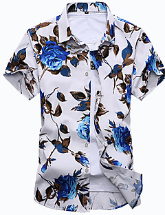 Men's Casual/Daily Beach Simple Summer Shirt,Floral Classic Collar Short Sleeves Cotton Medium