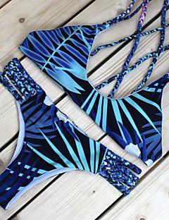 Naisten Bikini Kukkakuvio,Polyesteri Hihnoilla Painettu