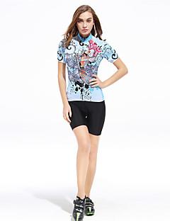 billige Sykkelklær-XINTOWN Dame Kortermet Sykkeljersey med shorts - Lyseblå Store størrelser Sykkel Shorts / Bukser / Jersey, Pustende, Fort Tørring, Ultraviolet Motstandsdyktig, Svettereduserende Lycra Fisk / Elastisk