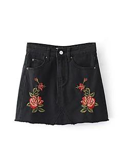 Χαμηλού Κόστους Mini Skirt-Γυναικεία Εφαρμοστό Γραμμή Α Φούστες - Μονόχρωμο Φλοράλ, Στάμπα Ντένιμ