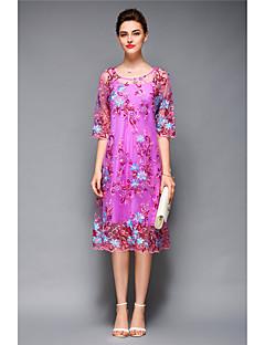 Kadın Günlük/Sade Kumsal Tatil Seksi Boho A Şekilli Elbise Çiçekli Yuvarlak Yaka Diz-boyu Polyester Bahar Yaz Normal Bel Esnemez Orta